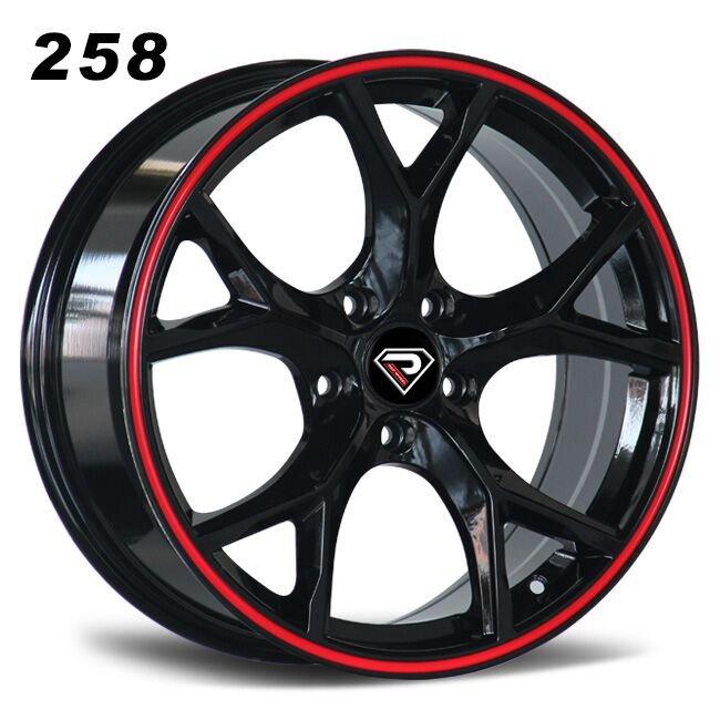 258 Type R 17inch 18inch Black Red Lip Alloy Wheels