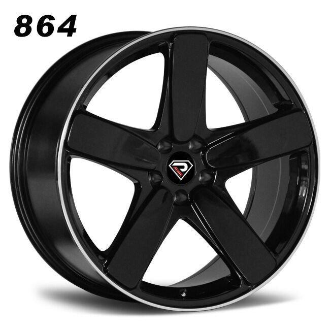 864 PORSCHE MACAN 5 Spokes Black Machined Lip Alloy wheels