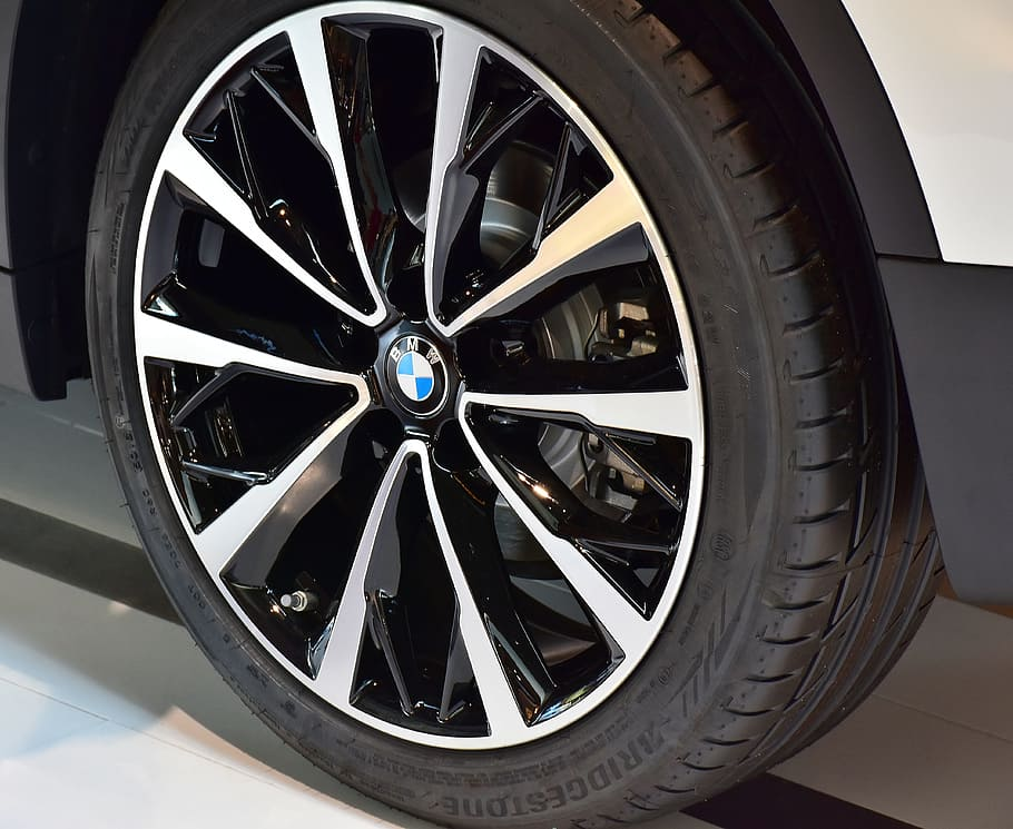 A BMW With Chrome Alloy Wheels