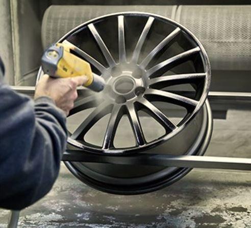 Powder coated aluminum alloy wheels