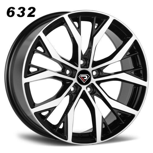 REP 632 New GTI design black machined face lip high quality multi spoke R16 5 stud via jwl cast alloy wheels
