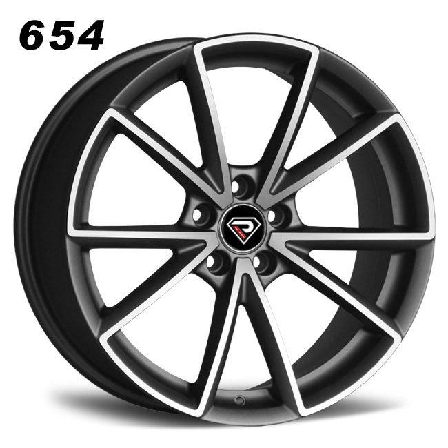 REP 654 New RS5 design matte gunmetal machined face high quality multi spoke R20 5 stud via jwl cast alloy wheels