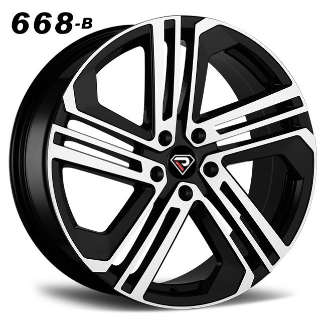 REP 668B Glof R400 design black machined face high quality roating spoke R18 5 stud via jwl cast alloy wheels